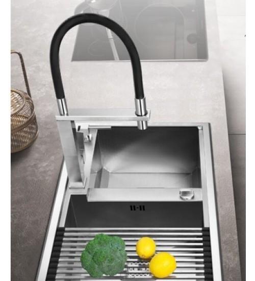 Levi Flexible Hose Tap--Brushed Finish- Kitchen Faucet
